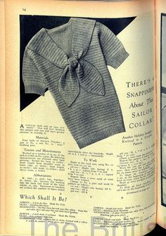 Free Vintage Knitting Pattern: Short Sleeved Sailor Collar – Vintage Knitt… – Awesome Knitting Ideas and Newest Knitting Models Crochet Vintage, Vintage Knitting, Lace Knitting, Knitting Stitches, Knitting Patterns Free, Knit Patterns, Vintage Patterns, Knit Crochet, Knitting Machine