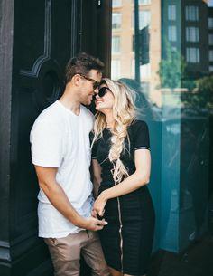 Barefoot Blonde Amber and David kissing in doorway