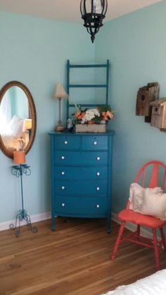 Repurposed Furniture Shabby Chic Teal & Coral