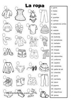 hoja de trabajo para niños de siete años en adelante sirve para practicar el vocabulario de la ropa aprendido en las clases anteriores podeis hacer los cambios necesarios. - Trabajos ELE