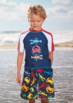 From CWDkids: Crab & Lobster Rash Guard and Swim Trunks.