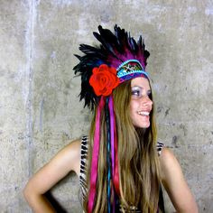 Fabulous for festivals. Frida Vibrant feather headdress by Hapuska on Etsy, £149.00