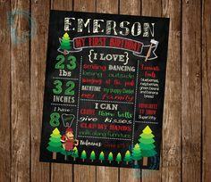 Lumberjack Birthday Chalkboard Poster by DigitalArtDesignsByB