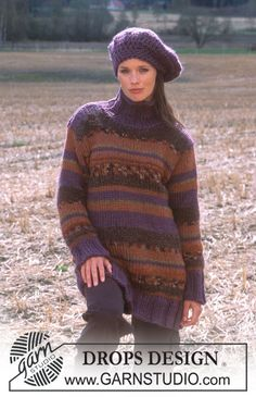 DROPS 91-3 - DROPS Long striped Sweater in Eskimo, Highlander and Vienna. - Free pattern by DROPS Design