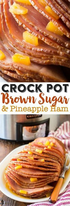 Crock Pot Brown Sugar Pineapple Ham Recipe - holiday timesaver. A true no-brainer recipe and even my picky kiddos really love having it on their plates.