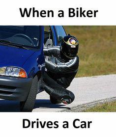 When a biker drives a car. Car Jokes, Funny Car Memes, Funny Animal Memes, Really Funny Memes, Stupid Funny Memes, Funny Laugh, Funny Relatable Memes, Funny Cars, Hilarious
