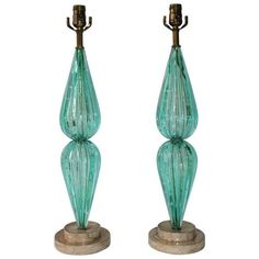 Mid-Century Modern 'Bullicante' Murano Glass Aquamarine Lamps, Pair - NY Showplace Antique and Design Center
