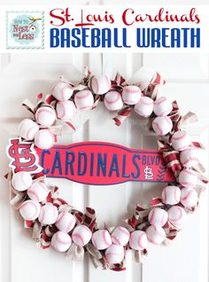 8 packages of foam pool baseballs from the Dollar Tree *Wire wreath form *Fabric scraps* STL Cardinals necklace *STL Cardinals plastic mini street sign* Hot glue gun* Ribbon. Who wants to make me a Cardinals and a Blues wreath? St Louis Cardinals Baseball, Stl Cardinals, Baseball Wreaths, Baseball Mom, Baseball Crafts, Baseball Stuff, Baseball Party, Baseball Season, Baseball Decorations
