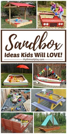 Best Sandbox Ideas & Tips for Kids!   Here's a round-up featuring a cool collection of unique and creative sandbox ideas. Includes sandboxes built with benches or cover or canopy. Inside you will find DIY sandbox plans, sand table and sandboxes for indoor and outdoor use, easy hacks, and natural sandbox tutorials that children will LOVE! | #SandboxIdeas #SandboxDIY #OutdoorFun #BackyardDIY