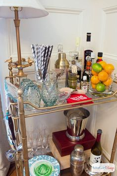 How to Style a Vintage Bar Cart - dont forget lemons and limes