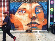 By Magrela Brazilian street artist from Sao Paulo in Brooklyn, NY Tag Street Art, Best Street Art, Street Art Graffiti, Urban Painting, Nyc, Brooklyn, Country Artists, Installation Art, Art Installations