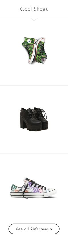 """Cool Shoes"" by chemicalfallout249 on Polyvore featuring shoes, converse footwear, converse shoes, boots, ankle booties, heels, black, chunky heel platform booties, heeled booties and platform heel boots"