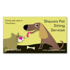 Dog and Cat Pet Sitting Services Business Card Template. I love this design! It is available for customization or ready to buy as is. All you need is to add your business info to this template then place the order. It will ship within 24 hours. Just click the image to make your own!