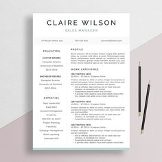 MODERN CV DESIGN - Professional Resume Template + Cover Letter for Word by theResumeDesign.etsy.com