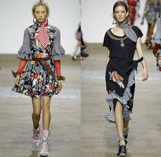 House of Holland 2017 Spring Summer Womens Runway Catwalk Looks - London Fashion Week Collections British Fashion Council UK United Kingdom - 1970s Seventies Disco Embroidery Adorned Bedazzled Sequins Paillettes Picnic Plaid Check Gingham Flare Velvet Crop Top Midriff Strapless Cinch Belted Scarf Waist Roses Flowers Floral Lace Silk Satin Halterneck Skirt Frock Accordion Pleats Outerwear Coat Parka Jacket Ruffles Mesh Fishnet Jean Trucker Jacket Noodle Strap