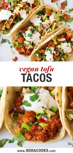 """Vegan Tacos with tofu """"meat"""" that is baked to chewy, flavorful perfection! dinner tacos Vegan Tacos with Tofu Vegan Dinner Recipes, Meat Recipes, Mexican Food Recipes, Vegetarian Recipes, Cooking Recipes, Healthy Recipes, Vegan Vegetarian, Tofu Tacos, Shrimp Tacos"""
