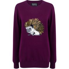 Markus Lupfer - Hedgehog embellished natalie sweater ($360) ❤ liked on Polyvore featuring tops, sweaters, purple sweater, beaded top, beaded sweaters, embellished sweater and pattern sweater