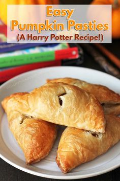"Curious about what pumpkin pasties from the ""Harry Potter"" series taste like? This is a take on the treat enjoyed by the characters in the books! Vegan Dessert Recipes, Vegan Breakfast Recipes, Vegan Snacks, Dairy Free Recipes, Vegan Recipes Easy, Fall Recipes, Vegetarian Recipes, Cooking Recipes, Gluten Free"