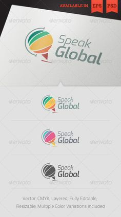 Buy Speak Global Logo Template by floringheorghe on GraphicRiver. Simple, clean and modern logo template perfect for a wide range of new media businesses like: Global Network, Transla. Logo And Identity, Unique Logo, Modern Logo, Language Logo, Global Logo, Conference Logo, Communication Logo, Service Logo, Campaign Logo