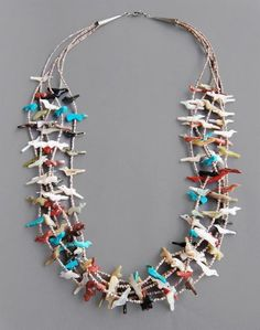 5 Strand Fetish Necklace  Zuni Jewelry  27 inches long  turquoise, coral, onyx, mother of pearl, olive shell, other stones  $ 1,200