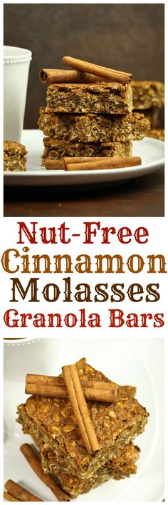 Just 8 ingredients is all you need for these amazing granola bars. Loaded with cinnamon spice and molasses and maple syrup to give these bars undeniable flavor and the most amazing soft, chewy texture. These are dairy-free, gluten-free and oil-free!