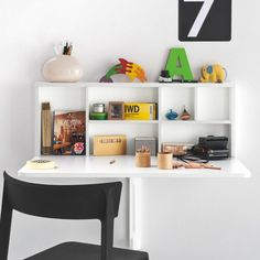 Spacebox Wall Mounted Folding Table by Calligaris. A table with multiple functions, the Spacebox wall mounted folding table is also a storage unit Wall Mounted Folding Table, Wall Mounted Desk, Wall Desk, Desk Chair, Table Storage, Storage Shelves, Wall Shelves, Tiny Furniture, Italian Furniture