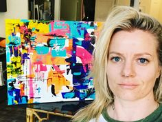 Portrait of April Greer abstract artist @the_artist_april follow on IG Abstract art, neon and vibrant color Based in Washington, DC