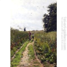 Figures On A Country Path by Peder Monsted