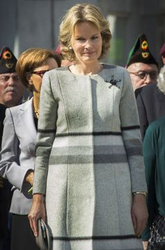 April 3, 2016... Queen Mathilde of Belgium paying tribute to resistance heroine Gabrielle Petit at Place Saint-Jean in Brussels