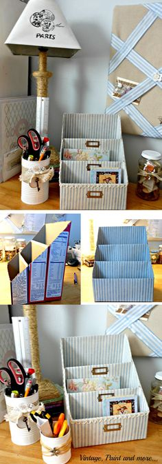 With the help of a little material that is interesting and interesting you can decorate and refresh many things in your home, and from them with very little effort to get perfect decorations. Cut out the food boxes as it is shown in the picture, a little decorative paper and lace, and a place for storing books, pens, and the like.