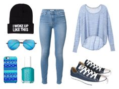 """""""#1"""" by lexi-wbu ❤ liked on Polyvore featuring Victoria's Secret, 7 For All Mankind, Converse, Linda Farrow, Essie, Uncommon and NLY Accessories"""