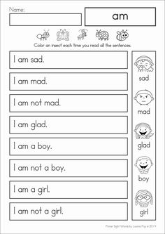 Sight Word Reading Fluency: Primer Sight Words by Lavinia Pop Reading Homework, Phonics Reading, Reading Worksheets, Kindergarten Reading, Teaching Reading, Reading Comprehension, Word Reading, Shapes Worksheets, Phonics Games