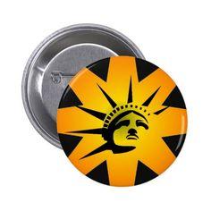 Lady Liberty Pinback Button #StatueOfLiberty #Statue #Liberty #Freedom #Immigrant #Refugee #USA #America #Pin #Button