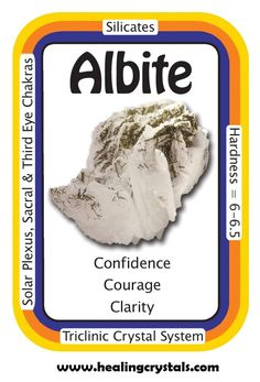 "Albite, ""My life flows effortlessly in the right direction.""  Albite aids in clarity of thought and enhances tactful cooperation with others. Albite gives an easy and effortless flow to all relationships, situations and interactions. It will relieve any fears of the unknown by providing the energy of courage and confidence. It supports personal freedom and self-empowerment in times of change.     Use code HCPIN10 = 10% discount     http://www.healingcrystals.com/Albite_Articles_2669.html"