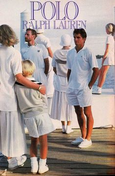 A family wears tennis white's inspired by the 23 Iconic Moments From Ralph Lauren on Yahoo Style 80s Fashion, Fashion Models, Vintage Fashion, Preppy Fashion, Disco Fashion, Fashion Shorts, Denim Fashion, Fashion Pictures, Fashion Designers