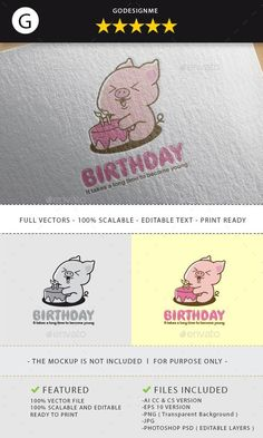 Buy Birthday Logo Design by godesignme_kong on GraphicRiver. Full vectors, this logo can be easily resize and colors can be changed to fit your project. Birthday Logo, Portfolio Logo, Abstract Logo, Best Logo Design, Creative Icon, Photoshop Design, Icon Design, Design Design, Vector File