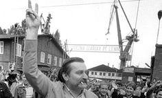 Lech Walesa leaves the Lenin Shipyard in Gdansk on 17 June 1983
