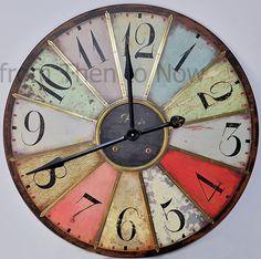 Heaven Sends Grande horloge murale Style vintage Multicolore 74 cm: Amazon.fr: Cuisine & Maison
