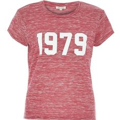River Island Pink marl 1979 fitted t-shirt ($14) ❤ liked on Polyvore featuring tops, t-shirts, shirts, t shirt, sale, print t shirts, pink top, pattern t shirt, pink tee and tee-shirt