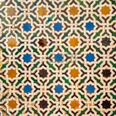 Picture of Tile decoration, Alhambra palace, Spain stock photo, images and stock photography. Geometric Patterns, Mosaic Patterns, Zentangle Patterns, Textile Pattern Design, Pattern Art, Granada, Islamic Tiles, British Colonial Decor, Moroccan Art