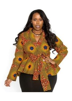 Beautiful ankara peplum top with belt for plus size big and beautiful curvy women, chubby ladies ankara peplum tops, latest classy ankara peplum tops for big and beautiful women African Blouses, African Tops, African Dresses For Women, African Attire, African Fashion Dresses, African Wear, African Women, Latest Ankara Dresses, Ankara Dress Styles