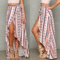 """RESTOCKINGHP 3/16/16Printed Wrap Skirt Pink patterned wrap skirt. Very lightweight & thin. 100% polyester. Wraps around waist and ties. Total length is 42"""".  Total Trendsetter party first runner up  Please ask any questions prior to purchasing - all sales are final.  • Bundle to save • No trades or holds  • Fast shipping ⭐️Firm price⭐️  PLEASE DON'T BUY THIS LISTING!! Comment for a custom listing to purchase  Boutique Skirts High Low"""