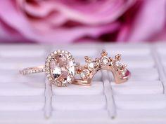 Oval Morganite Engagement Ring Sets Moissanite Tiara Wedding 14K Rose Gold 7x9mm - 3.25 / 14K White Gold