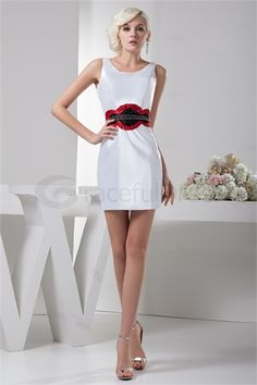 Wonderful Beading Short/ Mini Portrait Sheath/ Column Sweet 16 Dress
