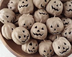 Paper Mache Halloween Pumpkins - 3 Rustic Jack-O-Lanterns 3 Rustic Jack o'lanterns for Halloween crafts! These little craft pumpkins are made out of paper mache. They are hollow, and have rough-cut fa