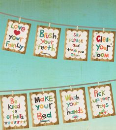 Good Manners 5x7 Wall Cards in English  Set of by ChildrenInspire, $22.00