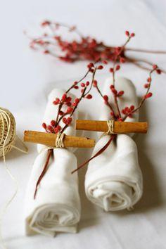 Cinnamon sticks used in napkin ring