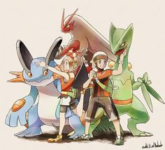 Swampert, Blaziken, and Sceptile with May and Brendan Pokemon Rosa, Pokemon Pins, Pokemon Images, Pokemon Cards, Pokemon Stuff, Sapphire Pokemon, Pokemon Advanced, Pokemon Starters, Pokemon Special