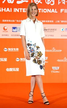 Rosamund Pike from The Best of the Red Carpet  The Gone Girl actress attends a photocall for the film in Shanghai, China sporting a sprightly floral-print Erdem frock.