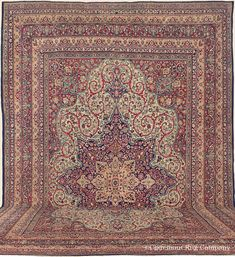 "LAVER KIRMAN, 14' 0"" x 20' 3"" — Late 19th Century, Western Persian Antique Rug - Claremont Rug Company  Click to learn more about this rug."